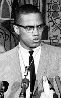 Malcolm X B&W Cropped microphone