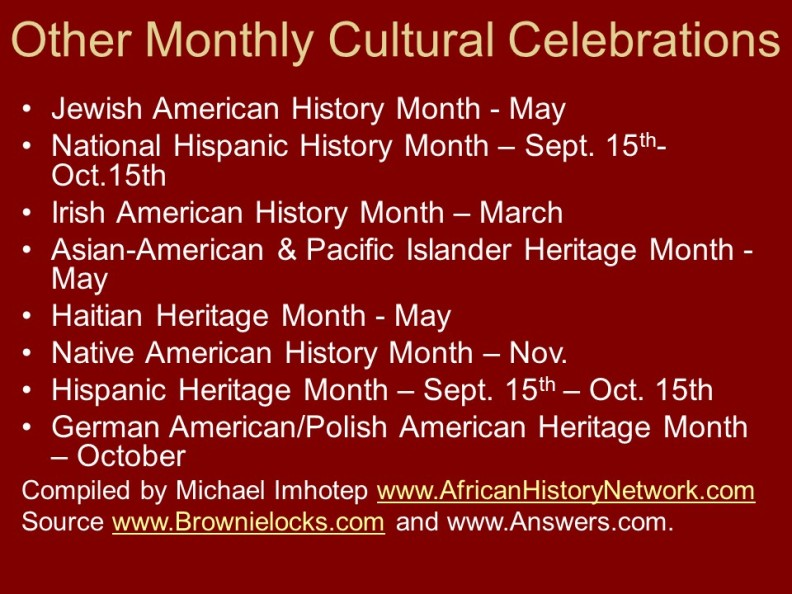 Other Monthly Cultural Celebrations - Should African-Americans Celebrate Black History Month